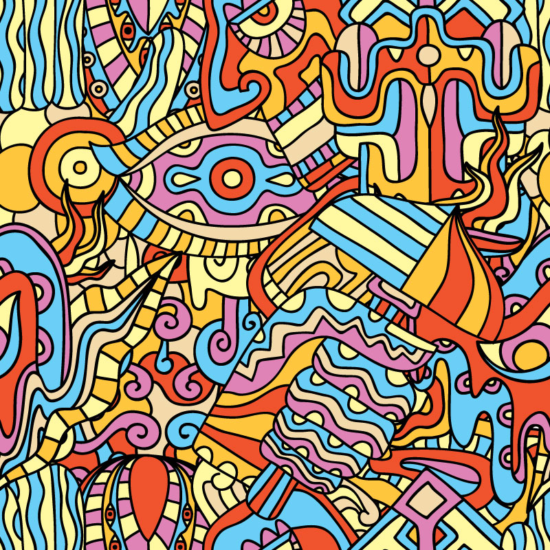 Magic Mushrooms - psychedelic pattern design for ON THAT ASS by Andrei Verner