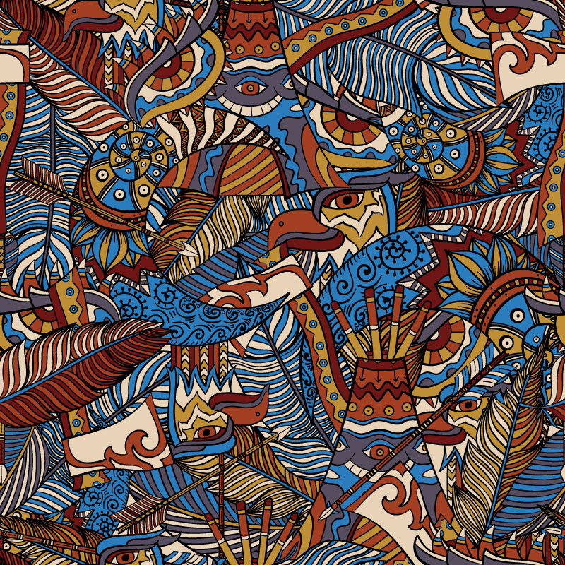 Indians - psychedelic pattern design for ON THAT ASS by Andrei Verner