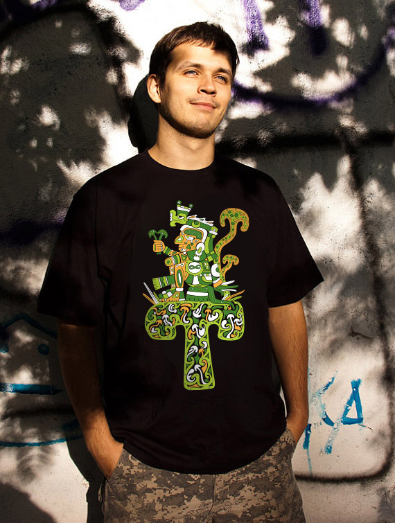Aztec Magic Mushroom God Psychedelic Man's T-shirt
