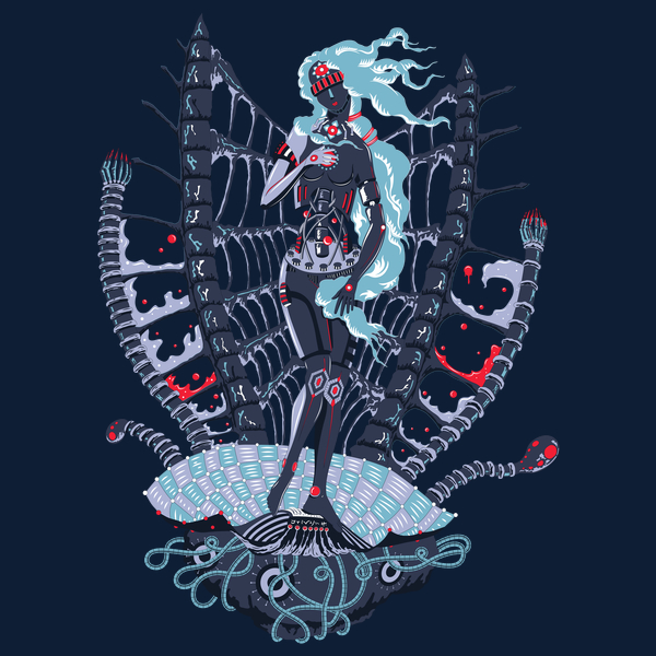Rebirth of Cyber Venus psychedelic T-shirt Design - Dark blue background