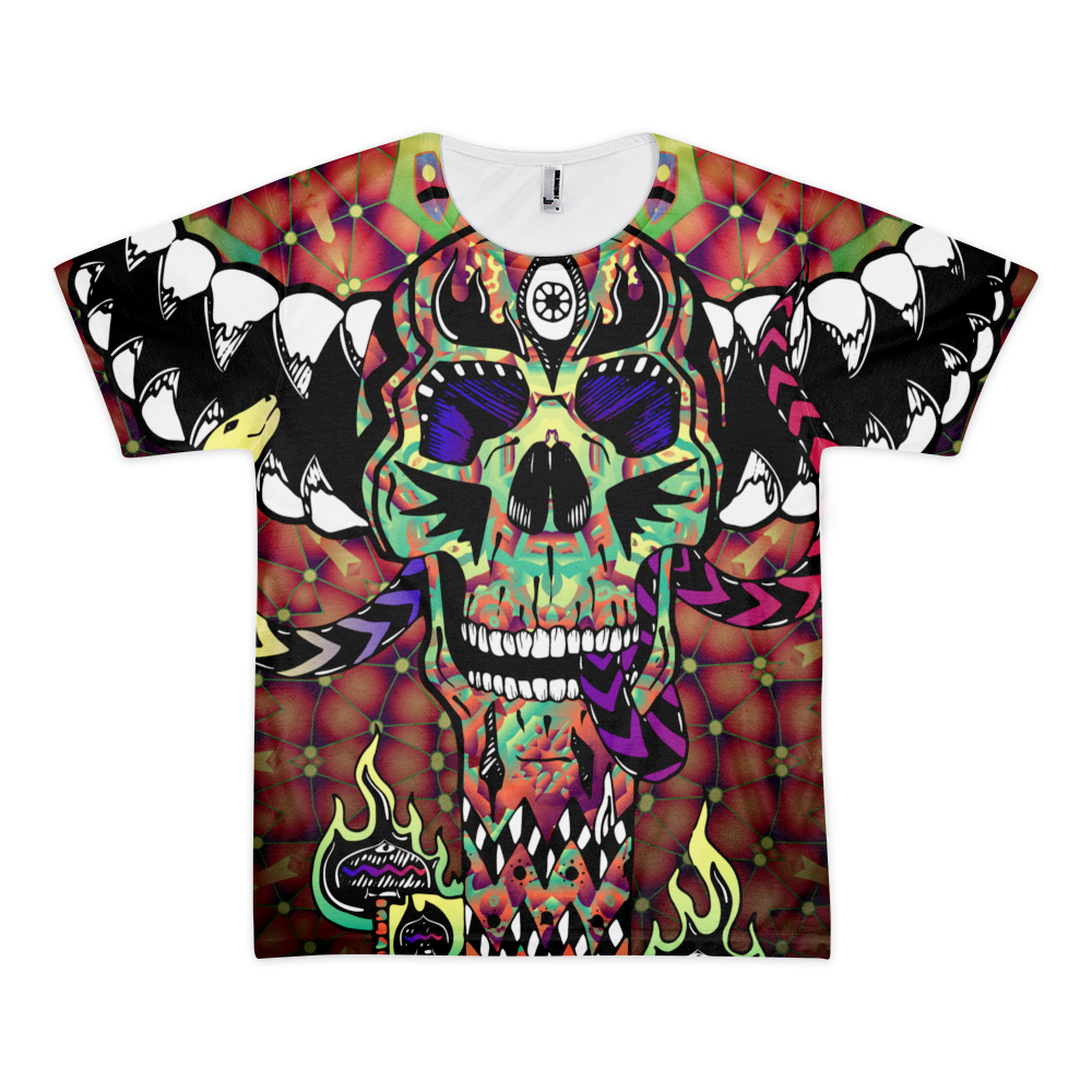 Skull Totem - Psychedelic T-shirt design by Andrei Verner - all over print T-shirt