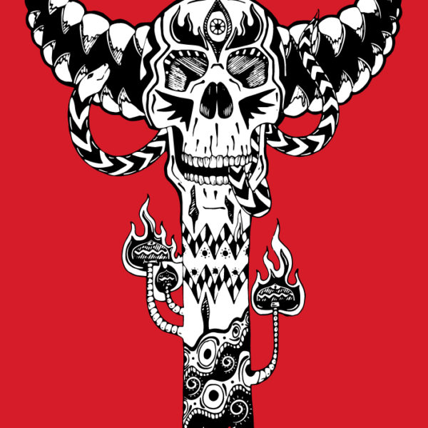 Bone Totem - Isolated Design on Red background