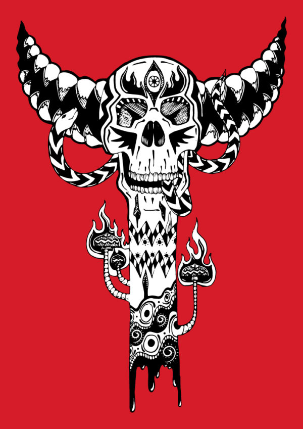 Bone Totem - Isolated Design on Red background