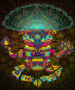 Magic Mushroom God Psychedelic Fluorescent Tapestry UV-reactive Backdrop Blacklight Poster