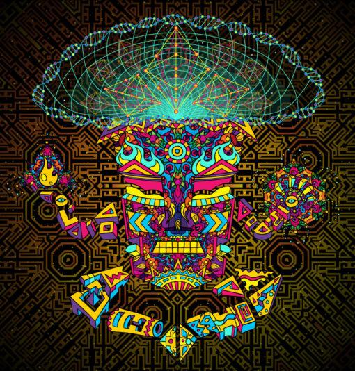 Magic Mushroom God Psychedelic Fluorescent Tapestry UV-reactive Backdrop Blacklight Poster