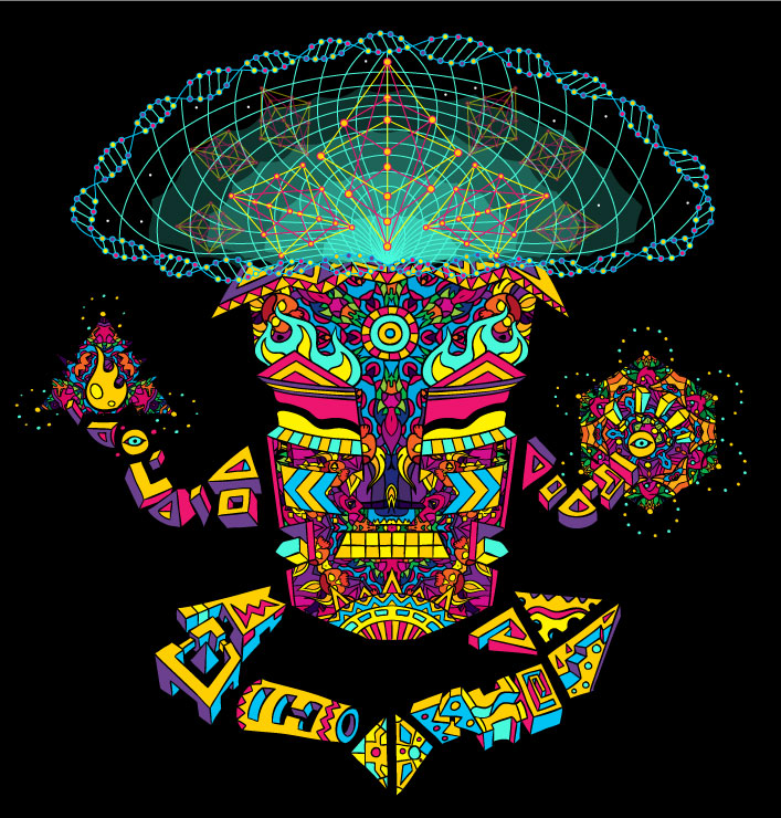 Magic Mushroom God character vector colouring