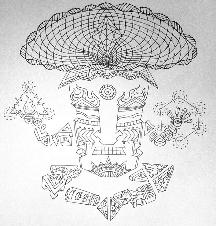 Magic Mushroom God character detailed sketch