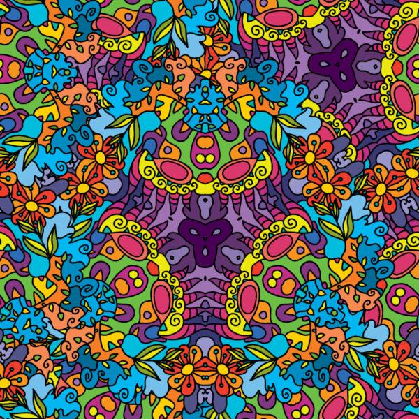 Floral Jungle Ornament Psychedelic Fluorescent Backdrop