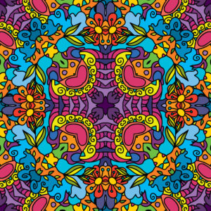 Kaleidoscope Jungle Ornament Psychedelic Fluorescent Backdrop