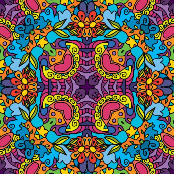Kaleidoscope Jungle Ornament Psychedelic Fluorescent Backdrop