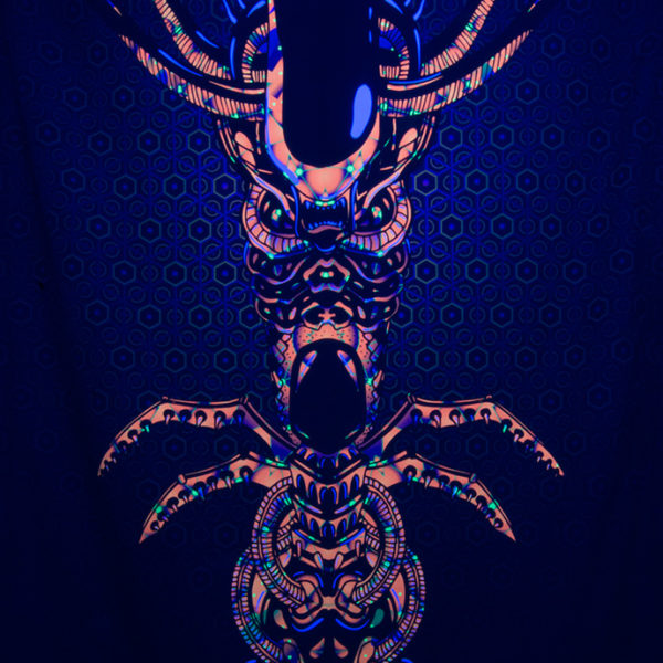Magic Alien Totem Psychedelic Trippy UV-reactive Fluorescent Backdrop