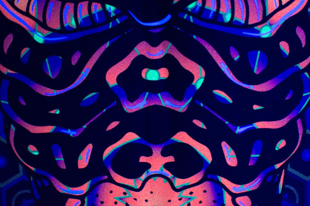 Magic Alien Totem - Psychedelic Fluorescent UV-reactive Backdrop Detail by Andrei Verner