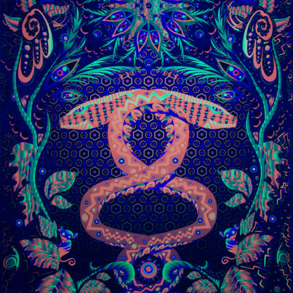 Jungle Snake Psychedelic Fluorescent UV-reactive Textile Backdrop