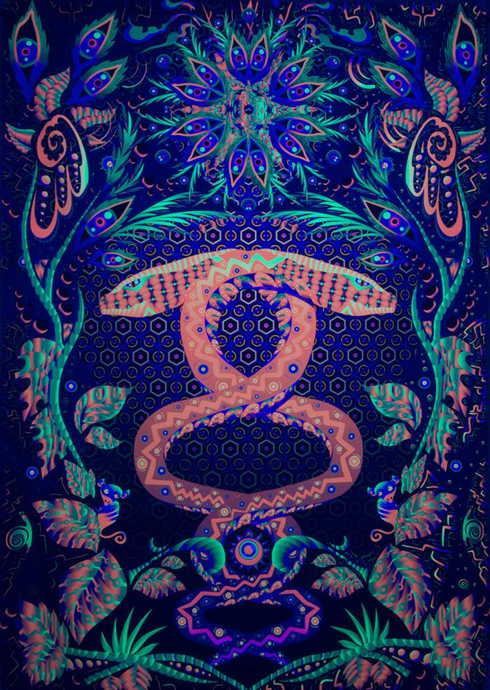 Jungle Snake - Psychedelic Fluorescent UV-reactive Backdrop by Andrei Verner
