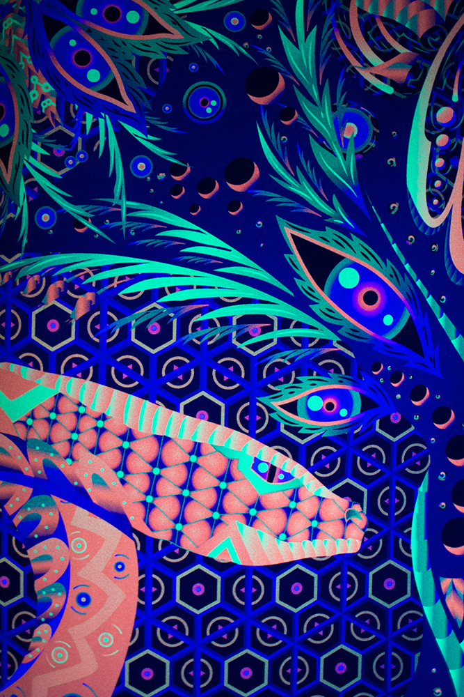 Jungle Snake - Psychedelic Fluorescent UV-reactive Backdrop Detail by Andrei Verner