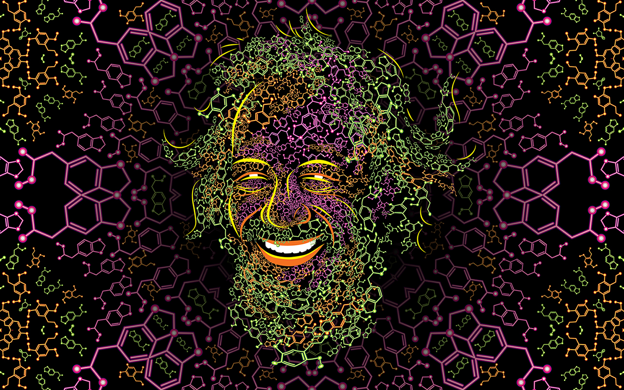 Sasha Shulgin Psychedelic Molecule Portrait by Andrei Verner. Free High Resolution wallpaper