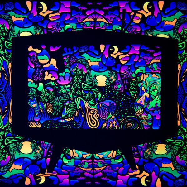 Trippy TV Psychedelic Fluorescent UV-Reactive Backdrop