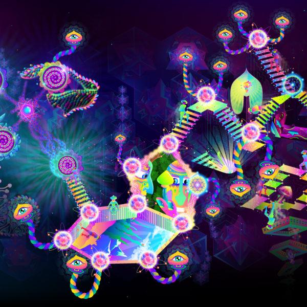 Psilocybin World Psychedelic UV-reactive Fluorescent Backdrop Design