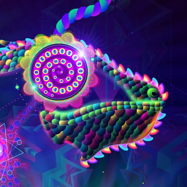 Psilocybin Molecule World Psychedelic UV-reactive Design Detail