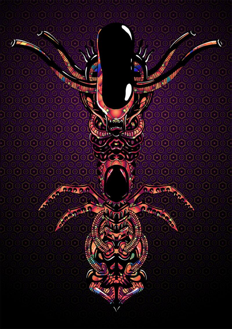 Magic Alien Totem Psychedelic Fluorescent Backdrop UV-reactive Tapestry Blacklight Poster
