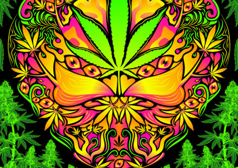 Cannabis Love Psychedelic Fluorescent UV-Reactive Backdrop Tapestry Blacklight Poster
