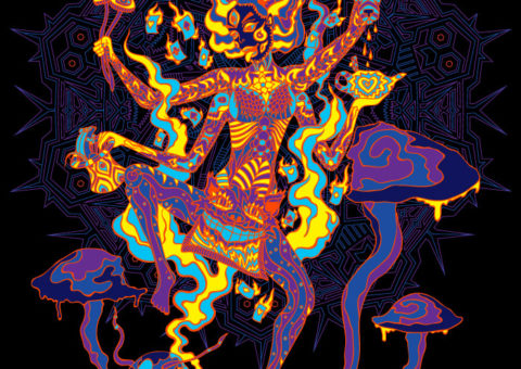 Kali in Wonderland Psychedelic Fluorescent UV-Reactive Backdrop Tapestry Blacklight Poster