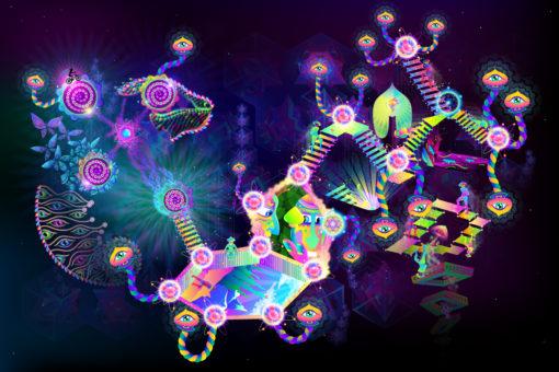 Psilocybin World Psychedelic Fluorescent UV-Reactive Backdrop Tapestry Blacklight Poster