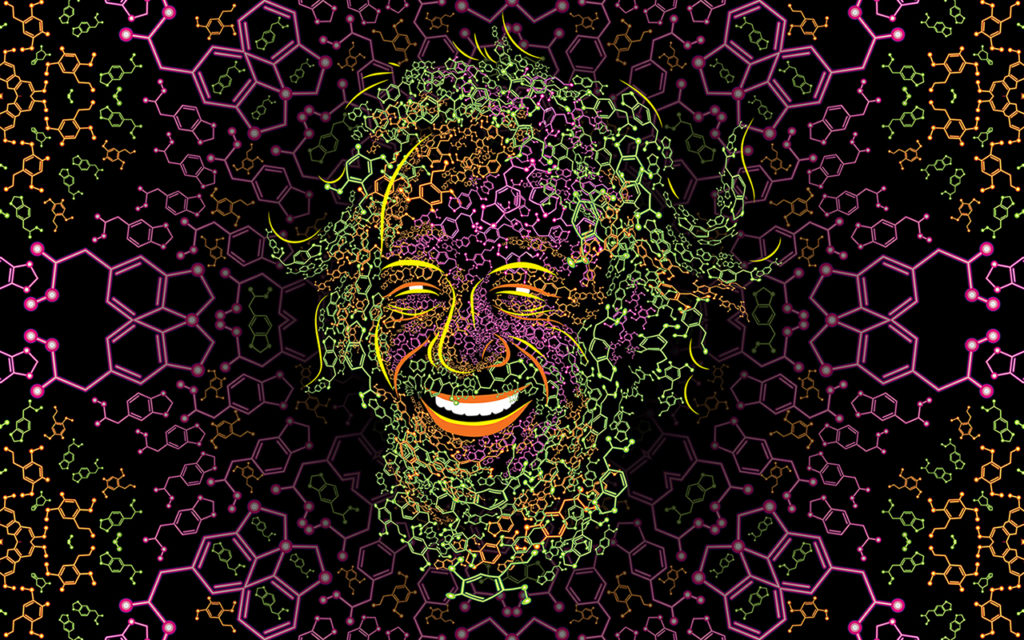 Sasha Shulgin Psychedelic Portrait made of 2C-B and MDMA molecules by Andrei Verner