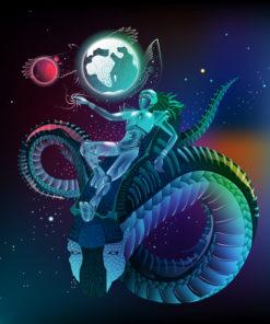 Space Traveler Psychedelic Fluorescent UV-Reactive Backdrop Tapestry Blacklight Poster