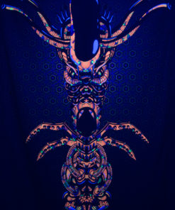 Magic Alien Totem Psychedelic Fluorescent Backdrop UV-reactive Tapestry Blacklight Poster UV Light Photo