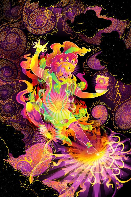 Hayagriva's Eyes Psychedelic Fluorescent UV-Reactive Backdrop Tapestry Blacklight Poster