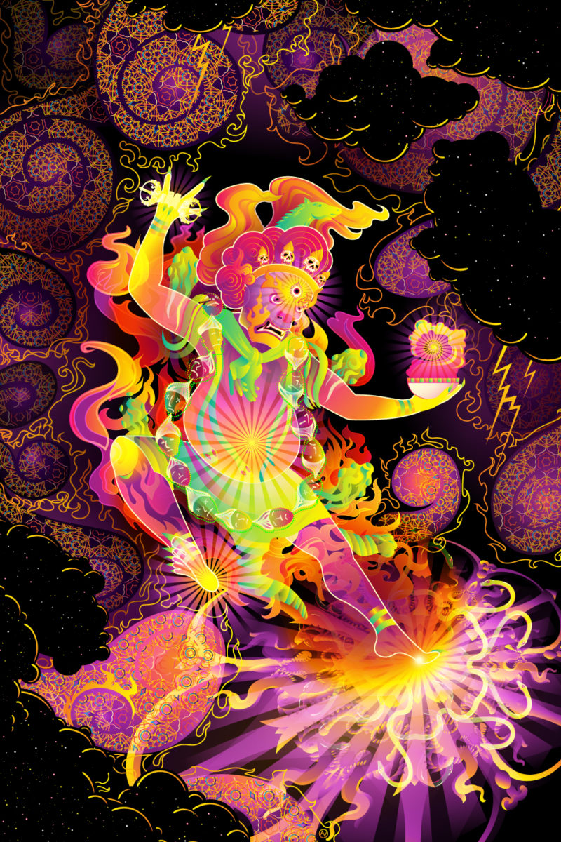 Hayagriva's Eyes Psychedelic Fluorescent UV-Reactive Backdrop Tapestry Blacklight Poster