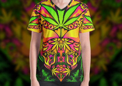 Cannabis Love Psychedelic Lady's T-shirt Design