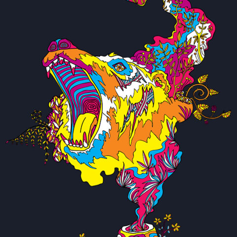 Bear Roar Psychedelic Design