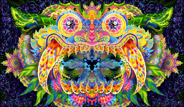Barong Demon Psychedelic Fluorescent Backdrop Tapestry Blacklight Poster