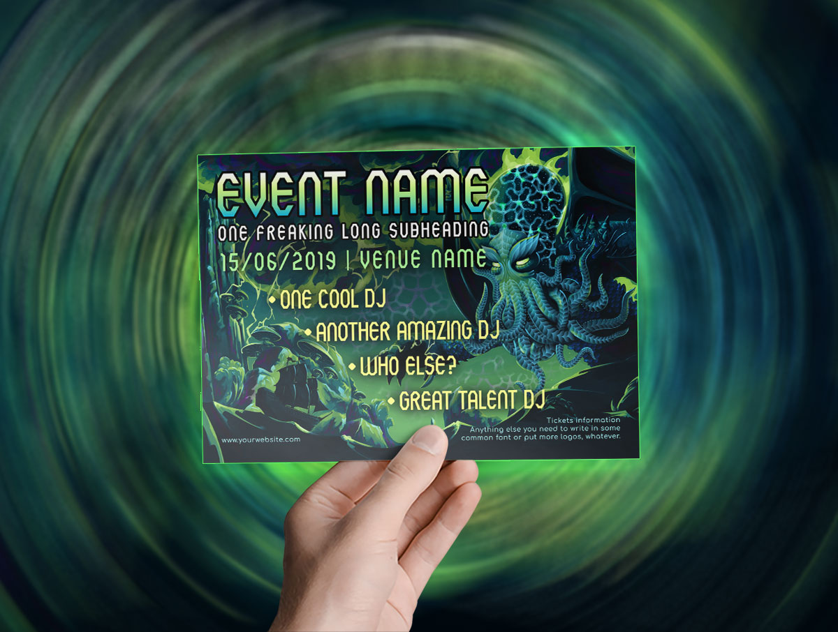 Monthly freebies - Psychedelic Electric Cthulhu A5 Flyer Template