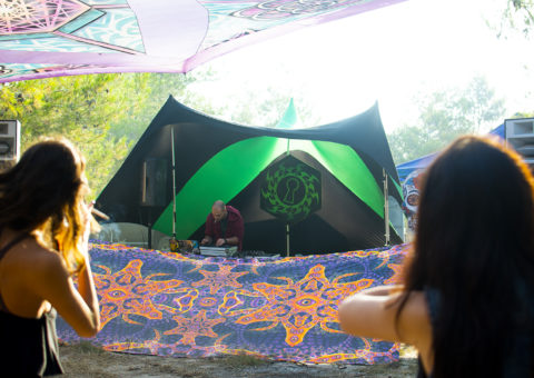 Abracadabra Psychedelic UV-Reactive Tapestry at an Open Air Party
