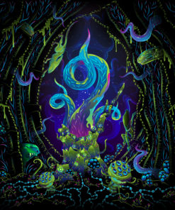 Alien Cave Psychedelic Fluorescent UV-Reactive Backdrop Tapestry
