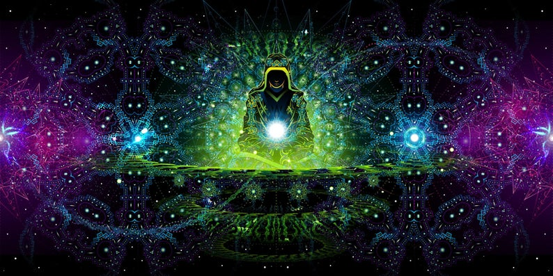 Enlightenment Colorful UV Backdrop XL Dark Tapestry Psychedelic Fluorescent Wall Art