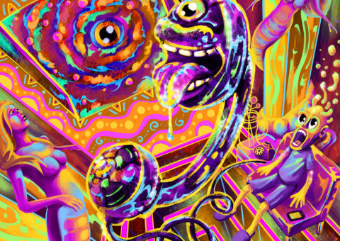 Tripping Balls Psychedelic Fluorescent UV-Reactive Backdrop Tapestry