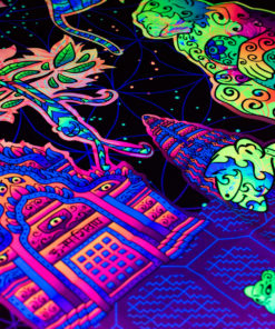 Hanuman UV-Reactive Tapestry Backdrop Details Closeup in Fluorescent Light