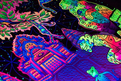 Hanuman UV-Reactive Tapestry Backdrop Details Closeup in Fluorescent Light