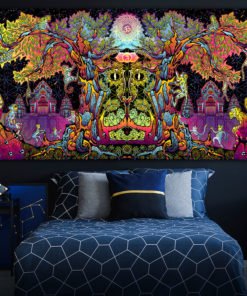 Lord Hanuman Colorful UV Backdrop XL Dark Tapestry Psychedelic Fluorescent Wall Art