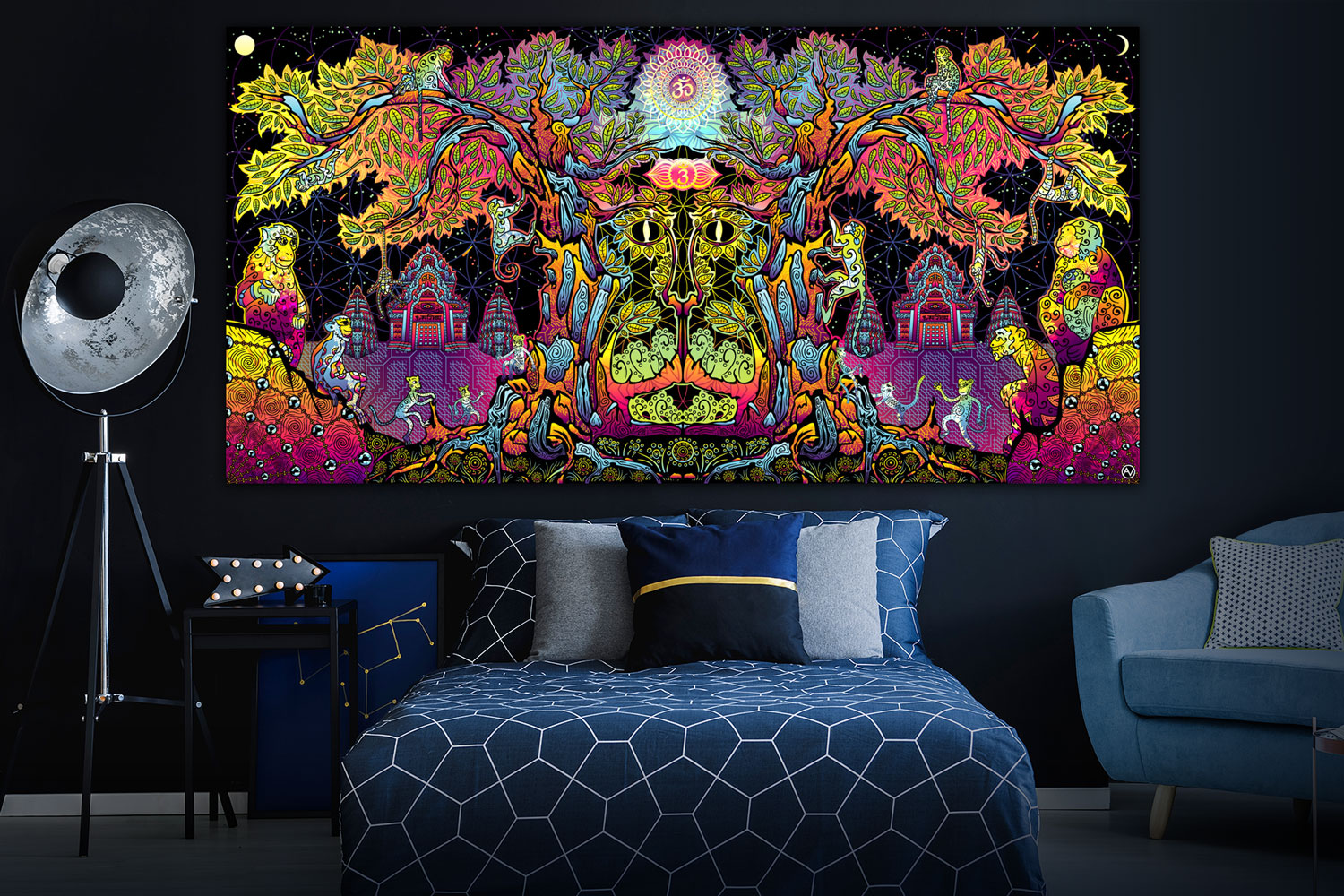 Lord Hanuman Psychedelic Art Fluorescent Design Tapestry in the interior preview