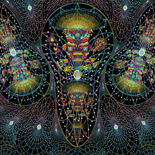 Mushroom God Space UV Backdrop XL Dark Tapestry Psychedelic Fluorescent Wall Art
