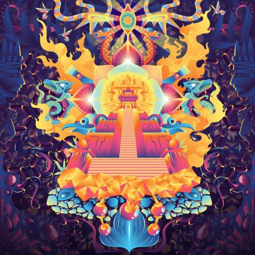 Mindcrash Psychedelic Fluorescent UV-Reactive Backdrop Tapestry Blacklight Poster