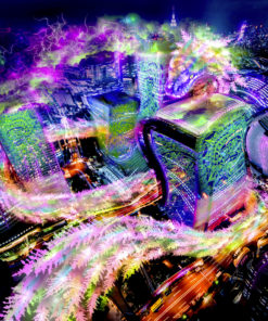 Quetzalcoatl in Tokyo Psychedelic Fluorescent Tapestry UV-reactive Backdrop Blacklight Poster