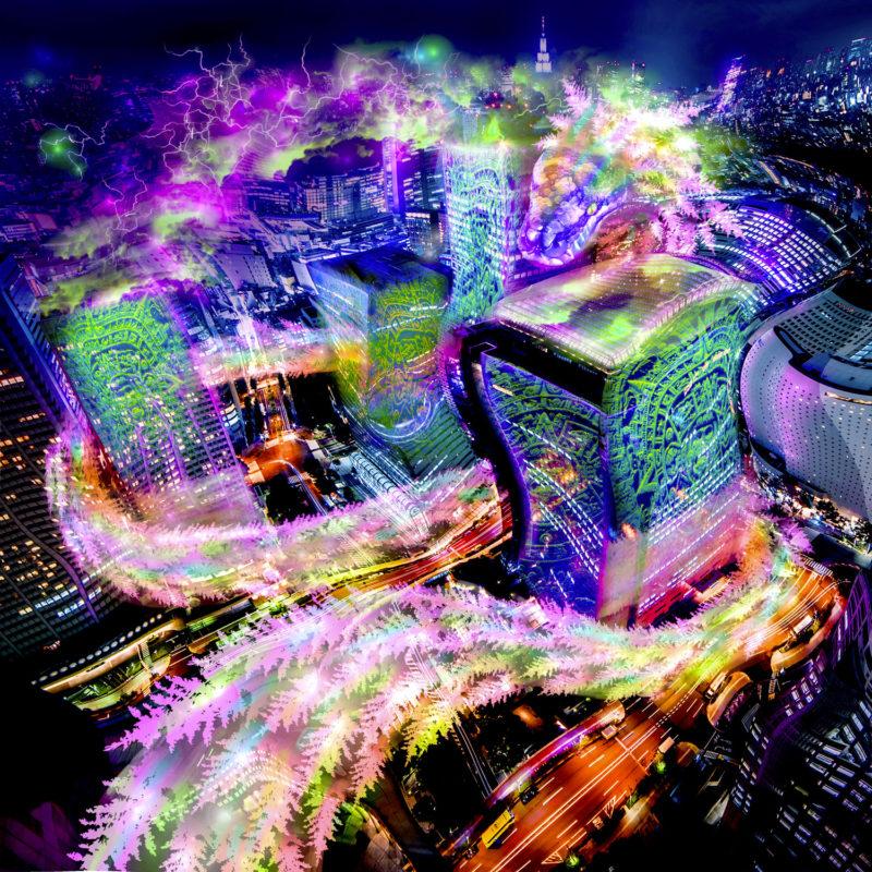 Quetzalcoatl in Tokyo Psychedelic Fluorescent Tapestry UV-reactive Backdrop Blacklight Poster