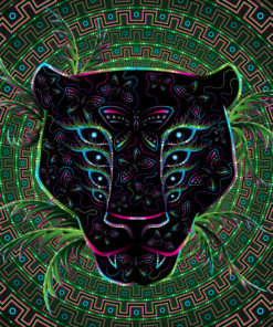 Black Leopard Psychedelic Fluorescent Tapestry UV-reactive Backdrop Blacklight Poster