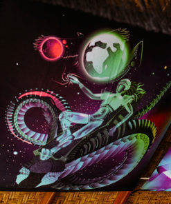 Space Traveler Psychedelic Fluorescent UV-Reactive Backdrop Tapestry Blacklight Poster